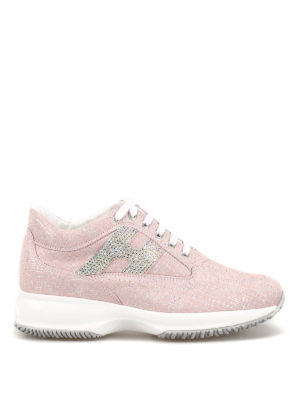HOGAN  sneakers - Interactive in shiny suede rosa con H strass 72af10abe06