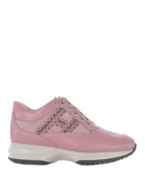 HOGAN: sneakers - Interactive in pelle e nabuk rosa con strass