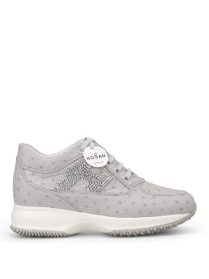 Hogan: trainers - Interactive grey ostrich print
