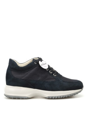 Hogan: trainers - Interactive ink blue suede sneakers