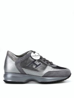 HOGAN: sneakers - Sneaker Interactive in suede e pelle laminata