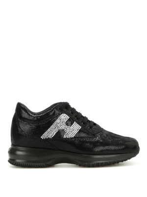 Hogan: trainers - Interactive rhinestone H sneakers
