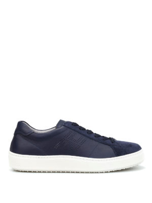 Hogan: trainers - Leather drilled logo sneakers