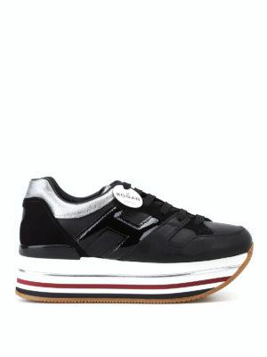 HOGAN: sneakers - Sneaker nere con cuore e maxi plateau