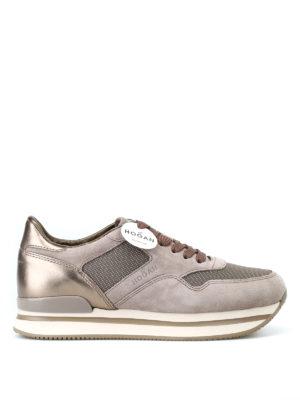 HOGAN: sneakers - Sneaker stringate scamosciate con lurex