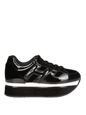 HOGAN: sneakers - Maxi H222 nere in vernice e velluto