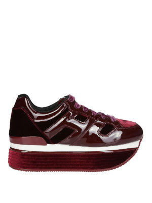 HOGAN: sneakers - Maxi H222 in vernice e velluto bordeaux