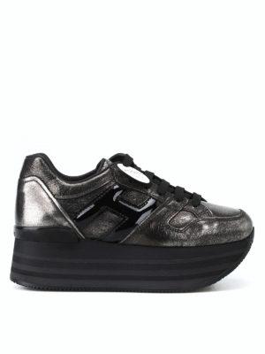 HOGAN: sneakers - Sneaker Maxi H222 in pelle effetto craquelé