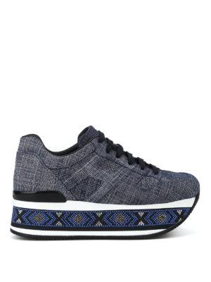 HOGAN: sneakers - Maxi H222 con strass sulla suola