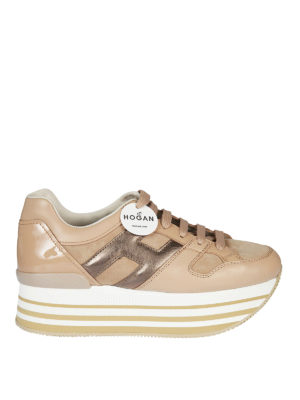 HOGAN: sneakers - Sneaker Maxi H222 in pelle e camoscio rosa