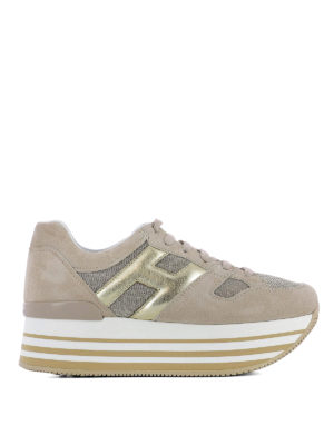 Hogan: trainers - Maxi H222 taupe suede sneakers