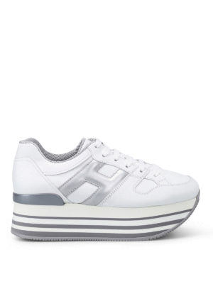 Hogan: trainers - Maxi H222 white leather sneakers