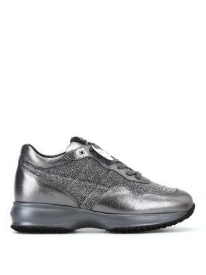 HOGAN: sneakers - Sneaker Interactive in pelle laminata e lurex