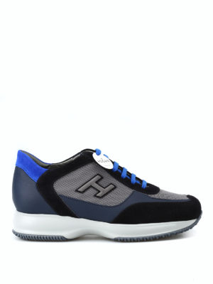 HOGAN: sneakers - Sneaker New Interactive H Flock blu scuro