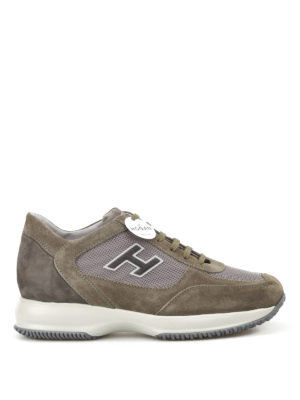 Hogan: trainers - New Interactive H Flock olive shoes