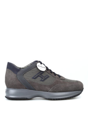 HOGAN: sneakers - Sneaker New Interactive in suede tortora