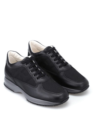 Hogan: trainers online - Black suede and fabric Interactive