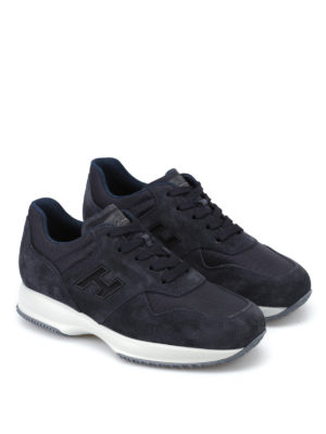 Hogan: trainers online - Blue suede and fabric Interactive