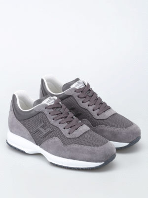 Hogan: trainers online - Grey fabric and suede Interactive