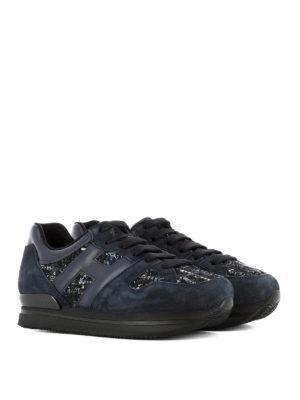 Hogan: trainers online - H222 bouclé insert leather sneakers