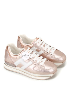 Hogan: trainers online - H222 bronze leather sneakers