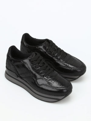 Hogan: trainers online - H222 crackle leather sneakers