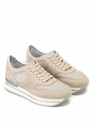 Hogan: trainers online - H222 fabric and suede sneakers