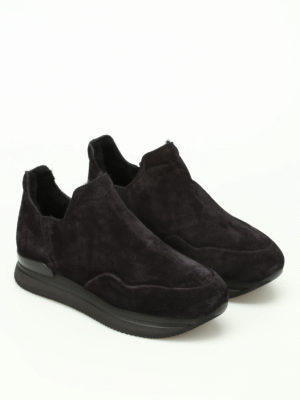 Hogan: trainers online - H222 faux fur lined black slip-ons