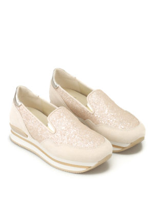 Hogan: trainers online - H222 glitter and suede slip-ons