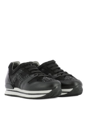 Hogan: trainers online - H222 glitter H leather sneaker