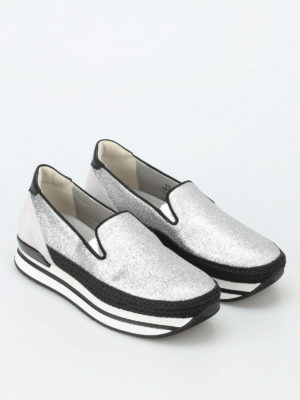 Hogan: trainers online - H222 glittered leather slip-ons