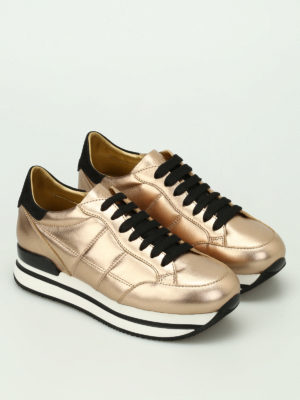 Hogan: trainers online - H222 gold-tone leather sneakers