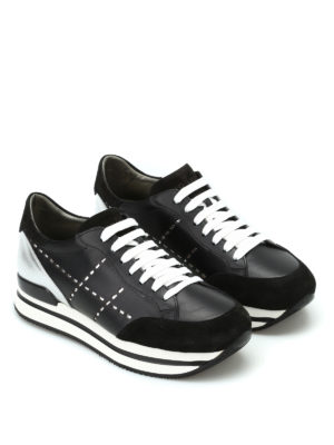 Hogan: trainers online - H222 leather and suede sneakers