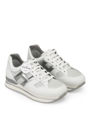 Hogan: trainers online - H222 lurex and leather sneakers