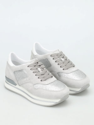 Hogan: trainers online - H222 lurex and suede sneakers
