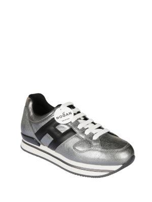 Hogan: trainers online - H222 metallic leather sneaker