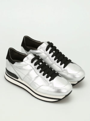 Hogan: trainers online - H222 metallic leather sneakers