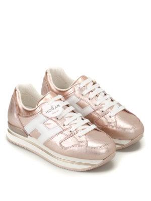Hogan: trainers online - H222 metallic leather sneakers