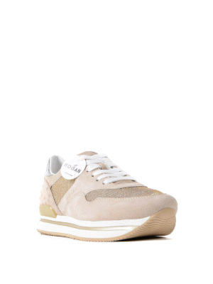 Hogan: trainers online - H222 pink suede and lurex sneakers