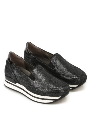 Hogan: trainers online - H222 shiny suede slip-ons