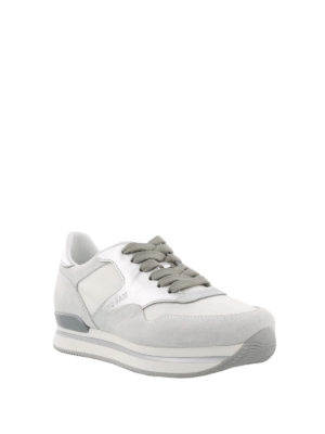 Hogan: trainers online - H222 silver and white sneakers