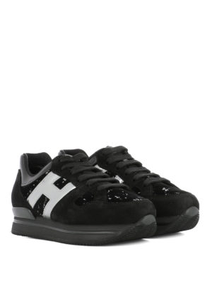 Hogan: trainers online - H222 silver H suede sneakers