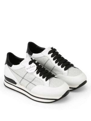 Hogan: trainers online - H222 silver lurex inserts sneakers