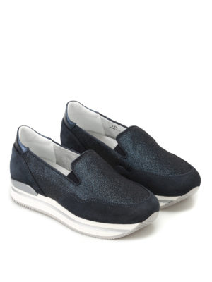 Hogan: trainers online - H222 suede and glitter slip-ons