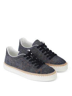 Hogan: trainers online - H260 denim and jute sneakers