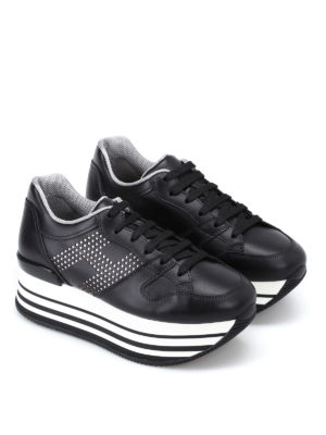 Hogan: trainers online - H283 Maxi black leather sneakers
