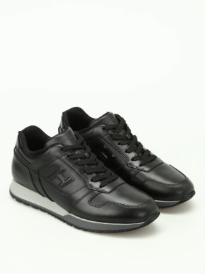 Hogan: trainers online - H321 black leather sneakers