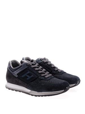 Hogan: trainers online - H321 blue multifabric suede sneaker