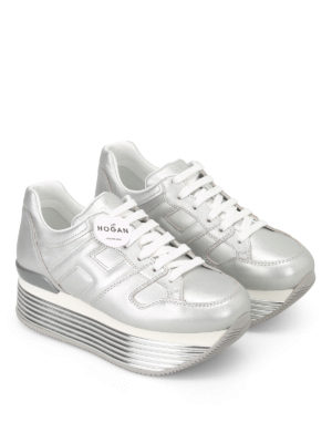 Hogan: trainers online - H325 Argento leather sneakers