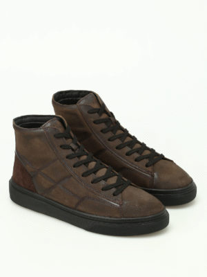 Hogan: trainers online - H340 high top ebony sneakers